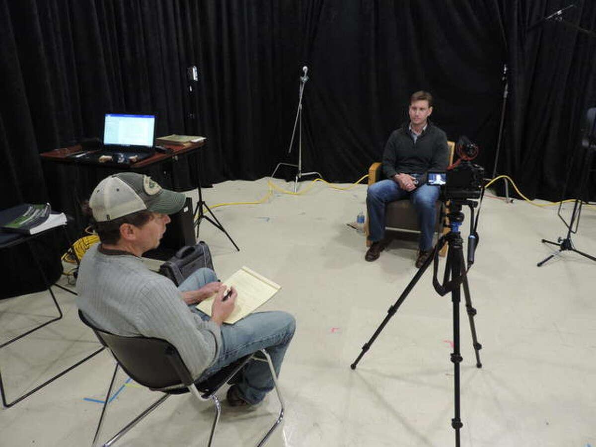 Director Lou Baczewski interviews James Petersen, a U.S. Marine Corps. veteran and PTSD expert, as part of the documentary,