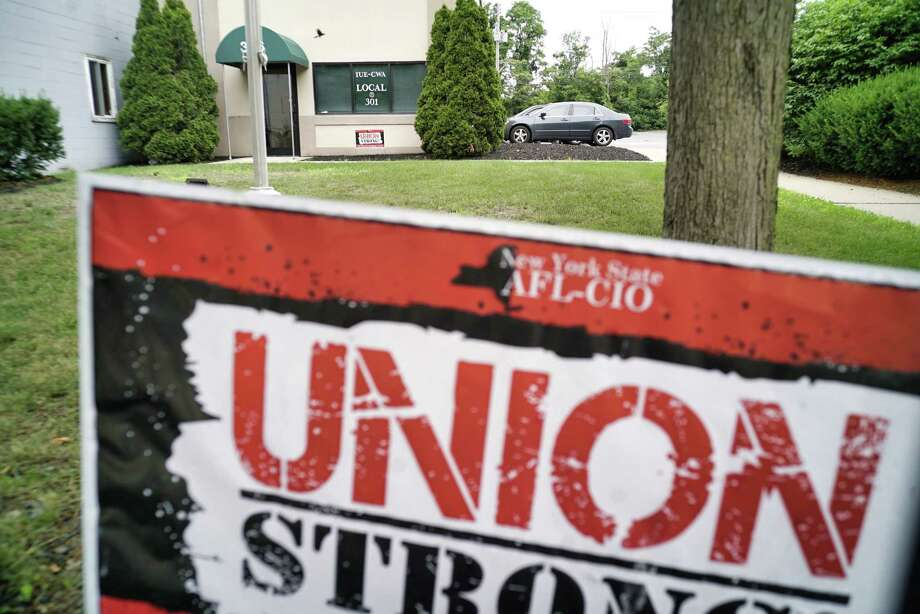 A view of the IUE-CWA Local 301 union hall on Tuesday, July 2, 2019, in Schenectady, N.Y. GE workers are beginning to vote on a contract.  (Paul Buckowski/Times Union) Photo: Paul Buckowski, Albany Times Union / (Paul Buckowski/Times Union)
