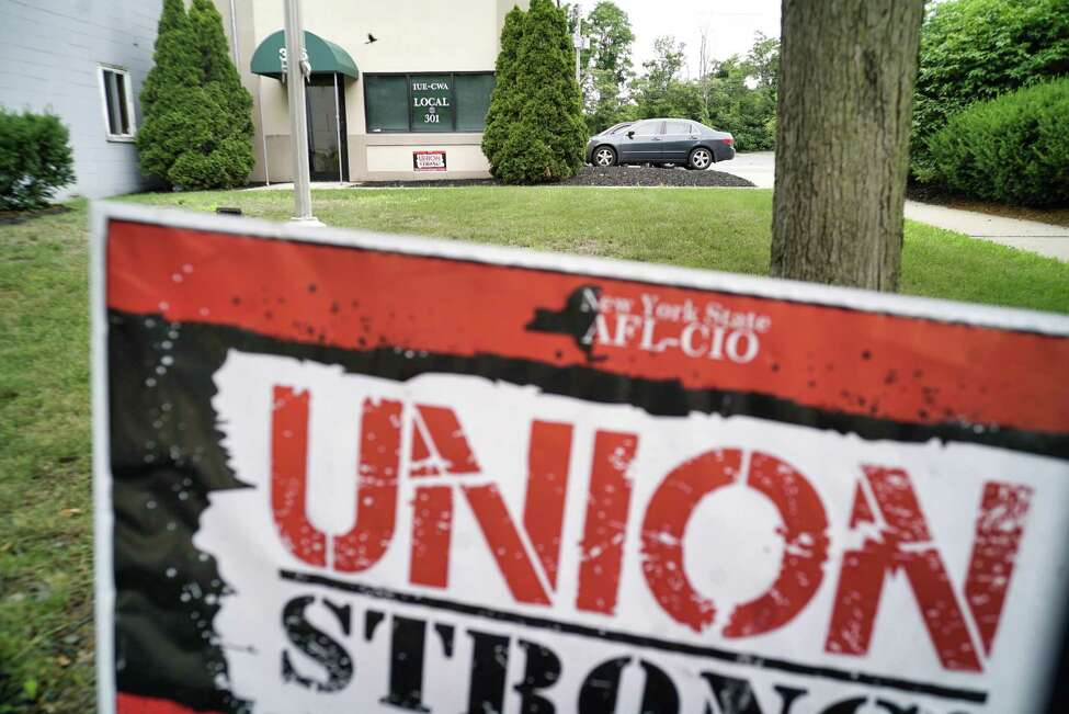 A view of the IUE-CWA Local 301 union hall on Tuesday, July 2, 2019, in Schenectady, N.Y. GE workers are beginning to vote on a contract. (Paul Buckowski/Times Union)