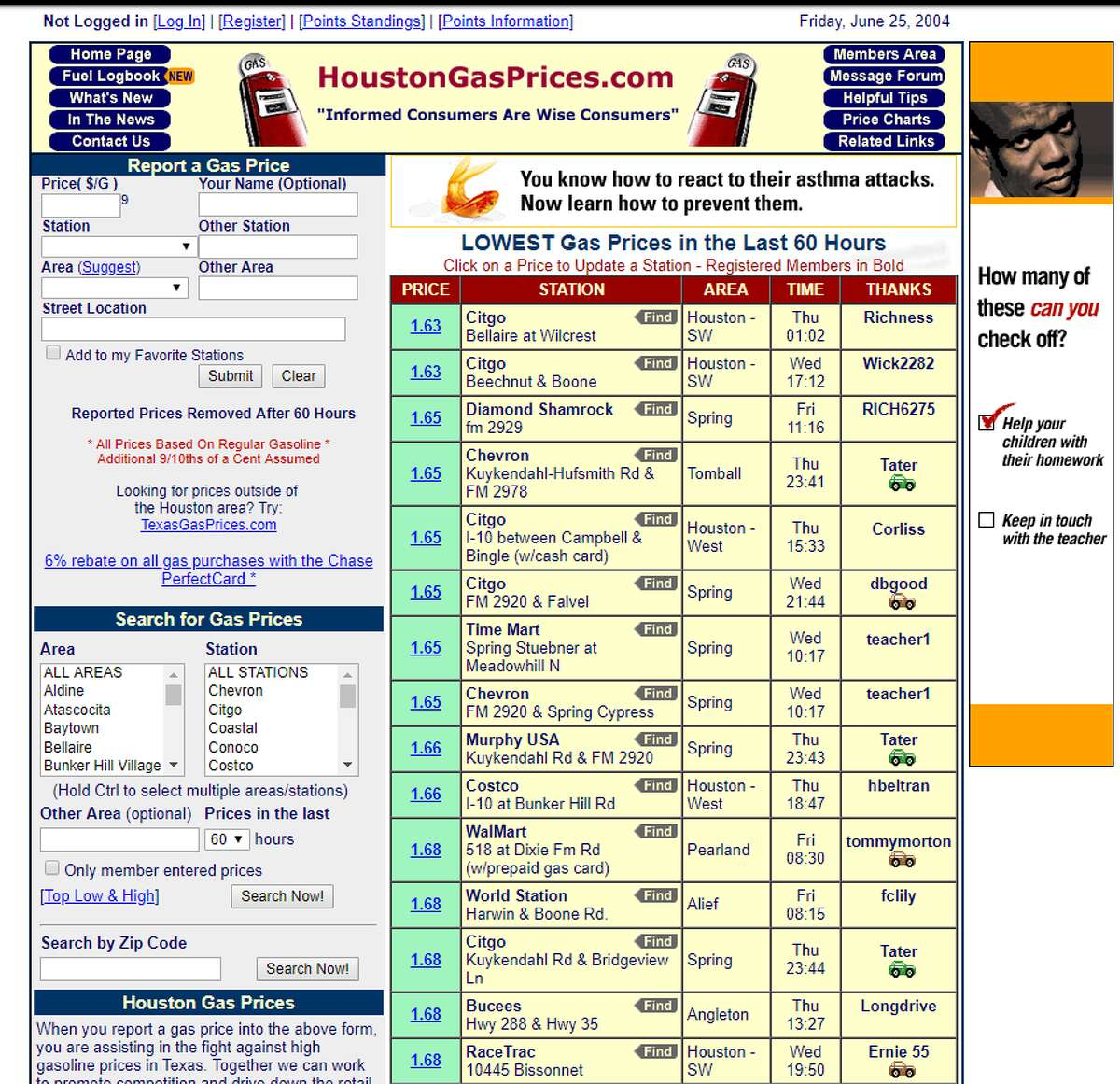 Houston Gas Prices Website: www.houstongasprices.com Screen capture date: June 25, 2004