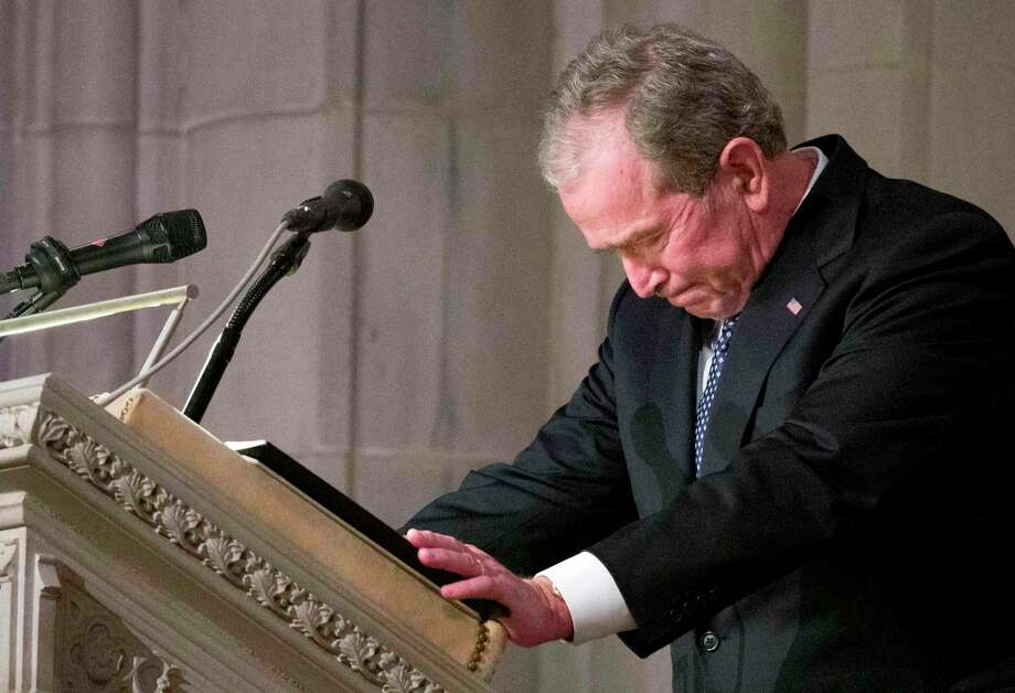 Former President George W. Bush becomes emotional at the December State Funeral for his father, former President George H.W. Bush. Critics often unfairly accused Bush of lacking in the smarts department, but he was an avid reader and critical thinker. But his emotional intelligence was a key to his political success. Photo: Alex Brandon /AFP /Getty Images / AFP or licensors