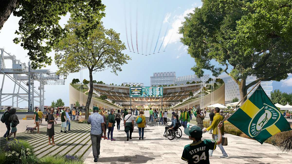 An artist's rendering depicts a view of the approach to the Oakland Athletics' new ballpark, proposed for construction at the Howard Terminal of the Port of Oakland.