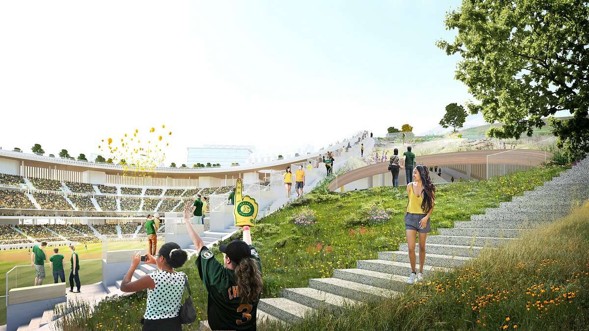 An artist's rendering depicts a view of the proposed new ballpark for the Oakland Athletics, which could be built on the grounds of the Howard Terminal in the Port of Oakland.