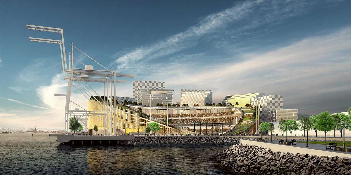 A water-level view of the Oakland Athletics' proposed new ballpark at the Howard Terminal of the Port of Oakland.