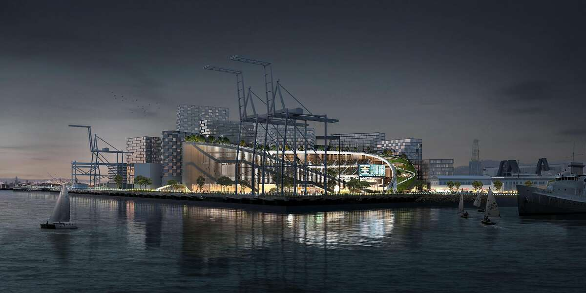 An artist's rendering depicts a night view of the Oakland Athletics' new stadium and adjacent commercial/residential development, proposed for the grounds of the Howard Terminal in the Port of Oakland.