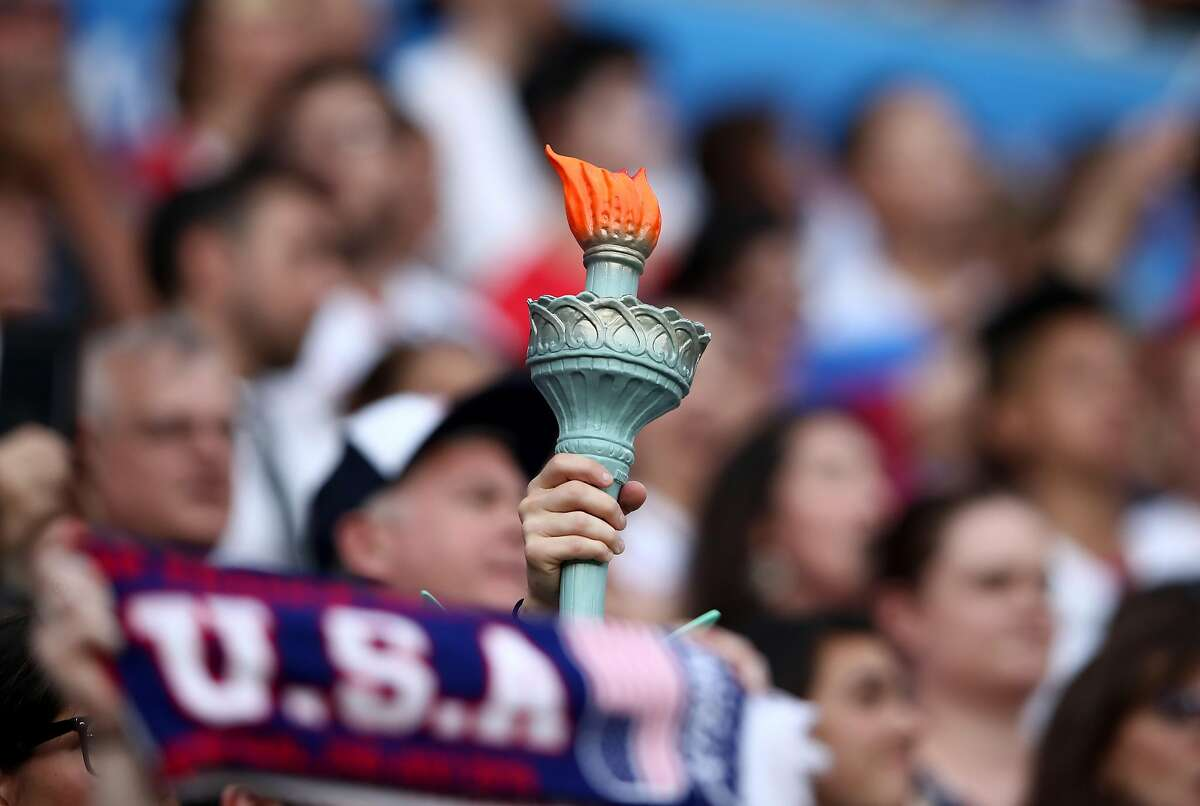 LYON, FRANCE - JULY 02: Fans of USA show their support prior to the 2019 FIFA Women's World Cup France Semi Final match between England and USA at Stade de Lyon on July 02, 2019 in Lyon, France. (Photo by Alex Grimm/Getty Images)