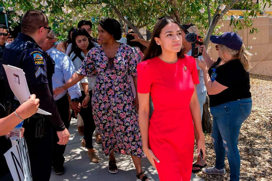 US Representative Alexandria Ocasio-Cortez (D-NY) attends a tour Border Patrol facilities and migrant detention centers for 15 members of the Congressional Hispanic Caucus on July 1, 2019 in Clint, Texas. (Photo by Luke MONTAVON / AFP)LUKE MONTAVON/AFP/Getty Images Photo: Luke Montavon / AFP / Getty Images