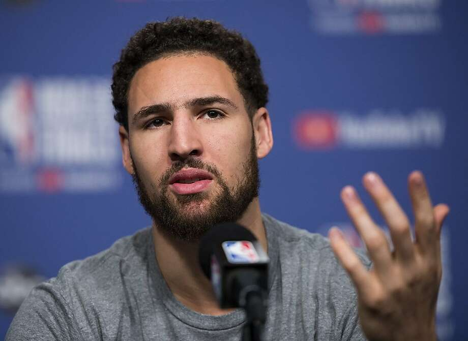 "FILE - In this May 29, 2019 file photo Golden State Warriors basketball guard Klay Thompson speaks to the media before practice for the NBA Finals against the Toronto Raptors in Toronto. Thompson said ""it's a little ignorant"" for people to say that the Warriors' dynasty is over after the team lost two-time NBA Finals MVP Kevin Durant to the Brooklyn Nets. Photo: Nathan Denette / Associated Press"