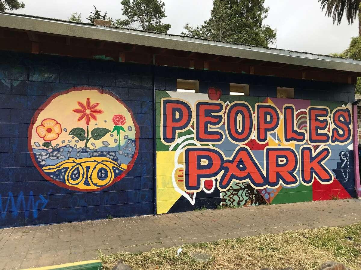 restroom mural at People's Park in Berkeley