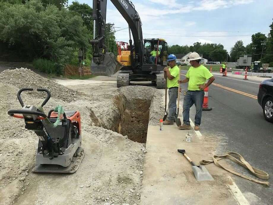 Crews worked this week on installing the storm drains as part of the second phase of the streetscape project in Brookfield. Photo July 2, 2019 Photo: Contributed Photo / Contributed / The News-Times Contributed