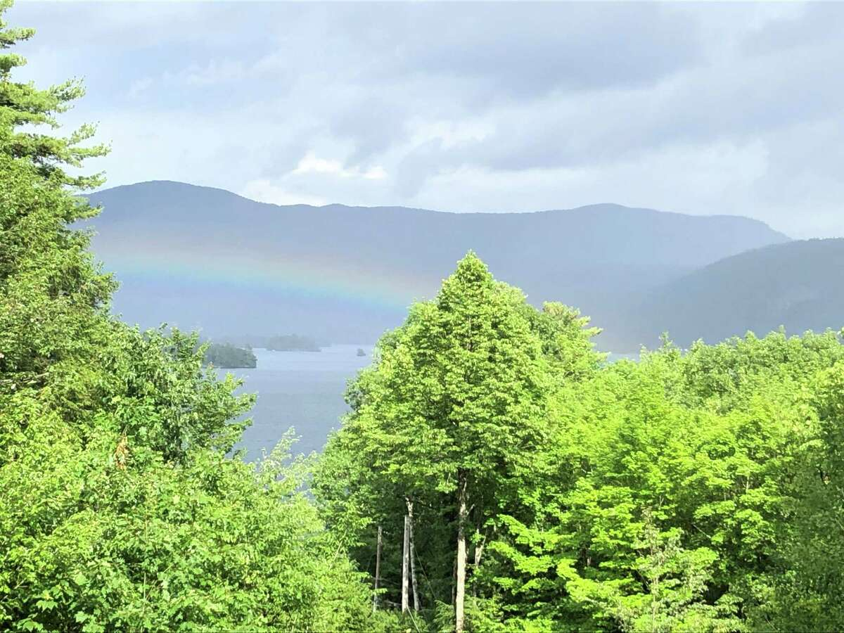 A rainbow greets the mountains and Lake George around Bolton Landing after the rain on Sunday, June 30, in this shot from Douglas Trout.