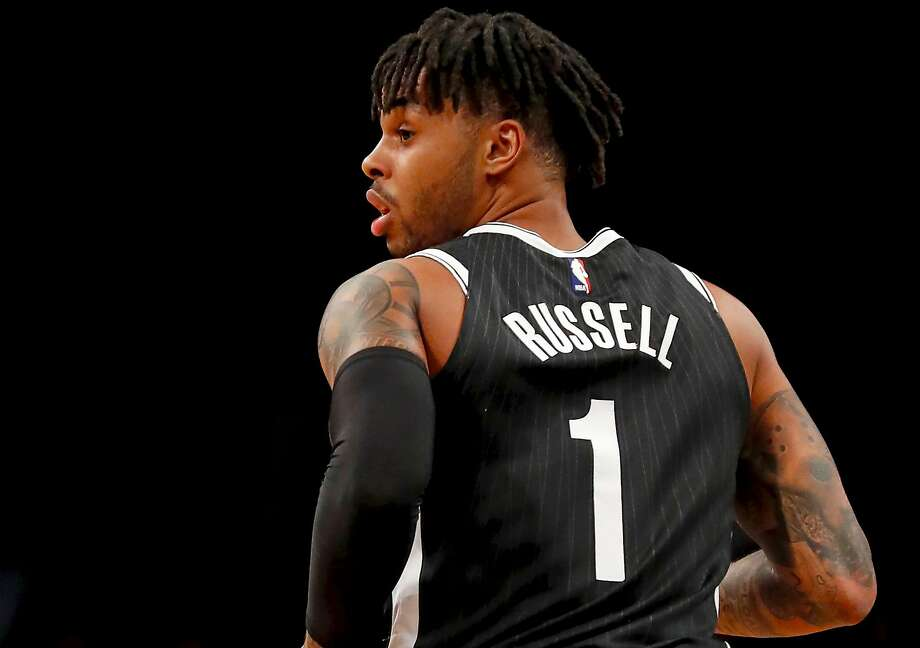 D'Angelo Russell #1 of the Brooklyn Nets runs back after hitting a three point basket in an NBA basketball game against the Toronto Raptors on March 13, 2018 at Barclays Center in the Brooklyn borough of New York City. Click through the slideshow for 10 things you didn't know about D'Angelo Russell. Photo: Paul Bereswill / Getty Images