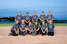 Here are your Bad Axe Blue 2019 Thumb 14 U Softball Tournament champions. Front row, from left: Teagan London, Haley Newland, Emma Kociba, Natalie Blackstock, Reese Vaertan and Hayleigh Zurek. Back row, left to right: Krista Geiger, Destiny Ranquist, Jasmyne English, Trista Prill and Mackenzie Copeland.