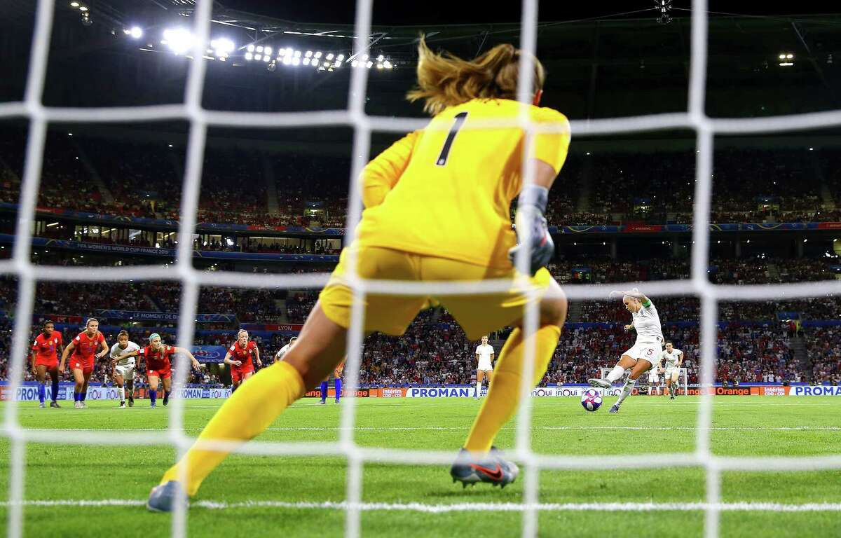 LYON, FRANCE - JULY 02: Alyssa Naeher goalkeeper of the USA saves a penalty from Steph Houghton of England during the 2019 FIFA Women's World Cup France Semi Final match between England and USA at Stade de Lyon on July 02, 2019 in Lyon, France. (Photo by Richard Heathcote/Getty Images)