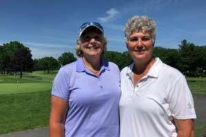 The team of Karen Feldman (Old Kinderhook), left, and Patricia Mayne (Western Turnpike) won the Capital District Open on June 26, 2019, at Mohawk. (Joyce Bassett / Times Union)