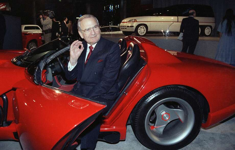 Chrysler Chairman Lee Iacocca sits in a 1990 Dodge Viper sports car during a stop in New York on a tour to show off the new model. Iacocca died Tuesday. Photo: Osamu Honda / Associated Press 1990
