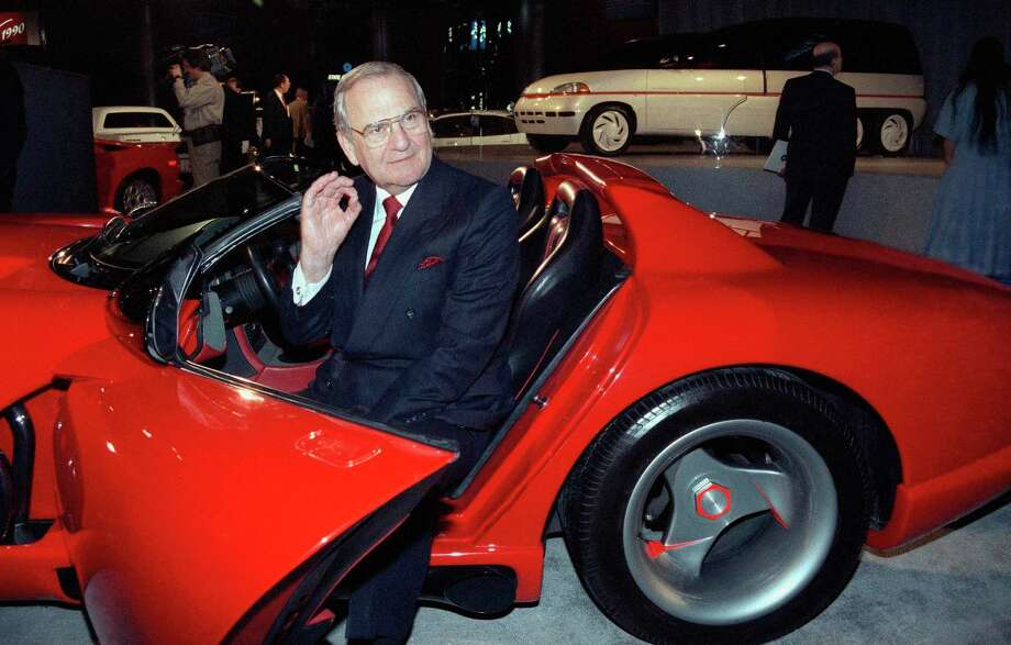 FILE - In this March 28, 1990, file photo, Chrysler Corporation Chairman Lee Iacocca sits in a 1990 Dodge Viper sports car as the Chrysler in the 90's six city tour makes a visit to New York. Former Chrysler CEO Iacocca, who became a folk hero for rescuing the company in the '80s, has died, former colleagues said Tuesday, July 2, 2019. He was 94. (AP Photo/Osamu Honda, File) Photo: Osamu Honda, STR / Associated Press / 1990 AP