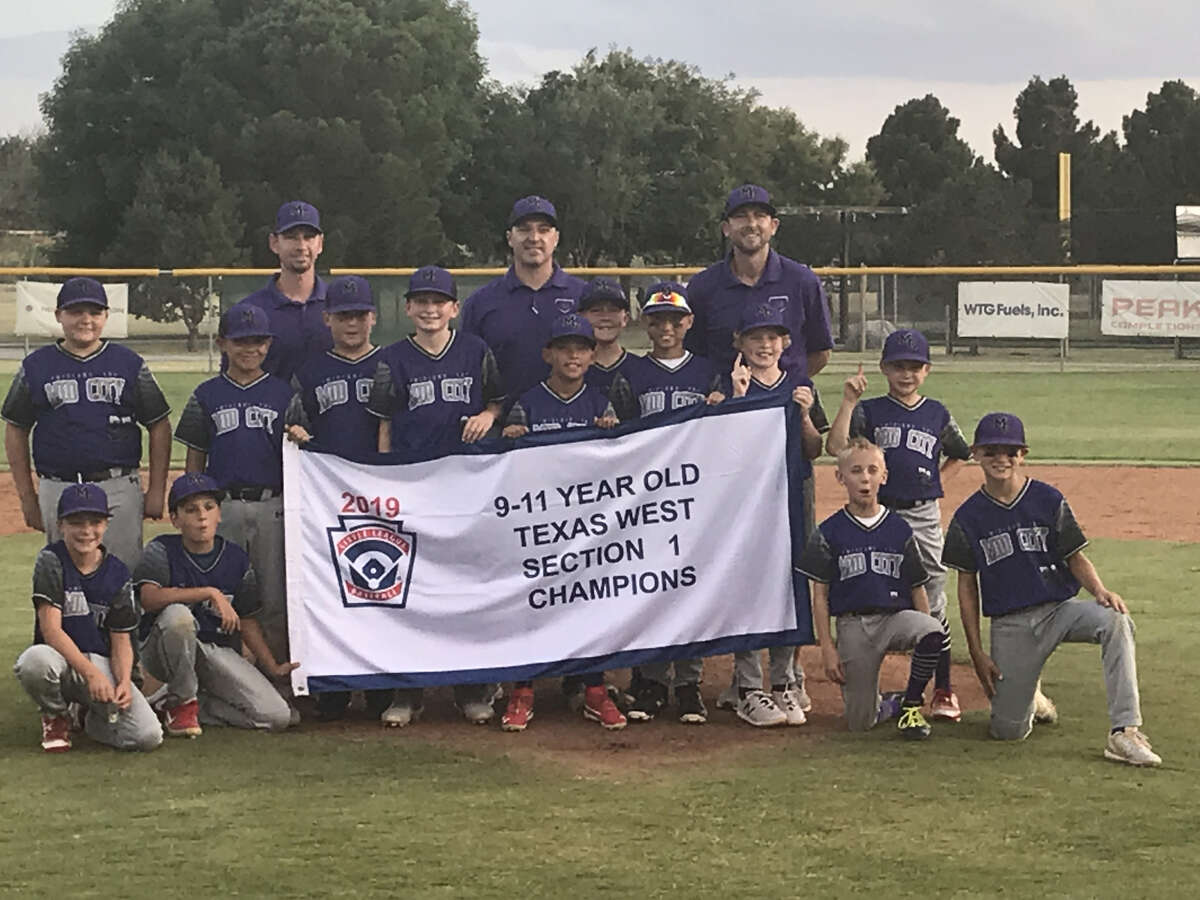 The Mid City 9-11 All-Stars pose with the title banner after beating Lubbock Southwest 6-4 on July 2 to win the Texas West Section 1 Tournament at Butler Park.