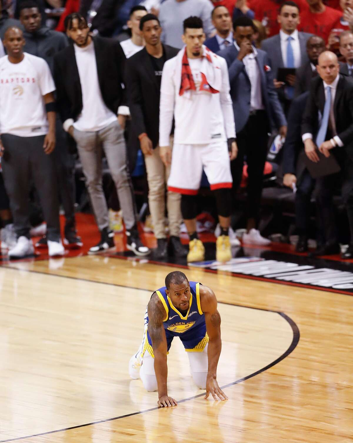 Golden State Warriors' Andre Iguodala is seen down on the floor in the second quarter during game 2 of the NBA Finals between the Golden State Warriors and the Toronto Raptors at Scotiabank Arena on Sunday, June 2, 2019 in Toronto, Ontario, Canada.
