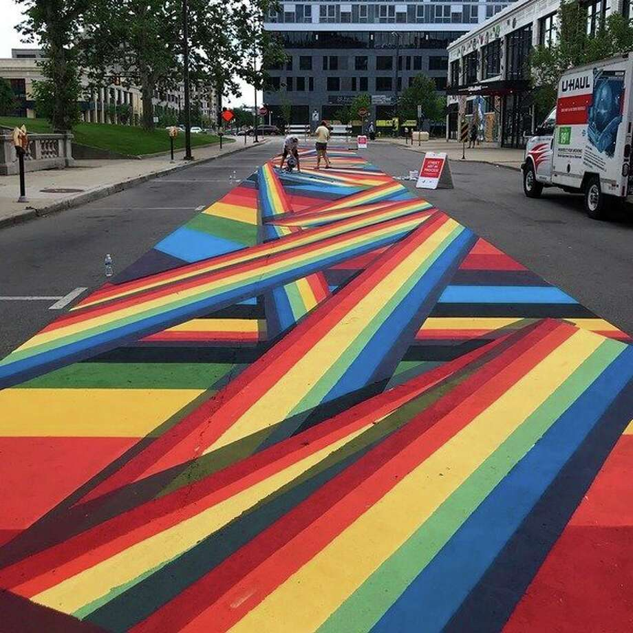 The 'Rainbow Road' mural on Sheldon Avenue in Grand Rapids is meant to symbolize pride for the LBGTQ community. (Photo provided)