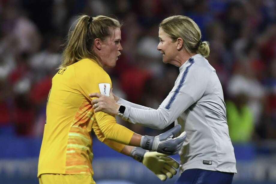 United States' coach Jillian Ellis, right, celebrates with goalkeeper Alyssa Naeher at the end of a semifinal match against England on July 2. Photo: Philippe Desmazes / AFP / Getty Images / AFP or licensors