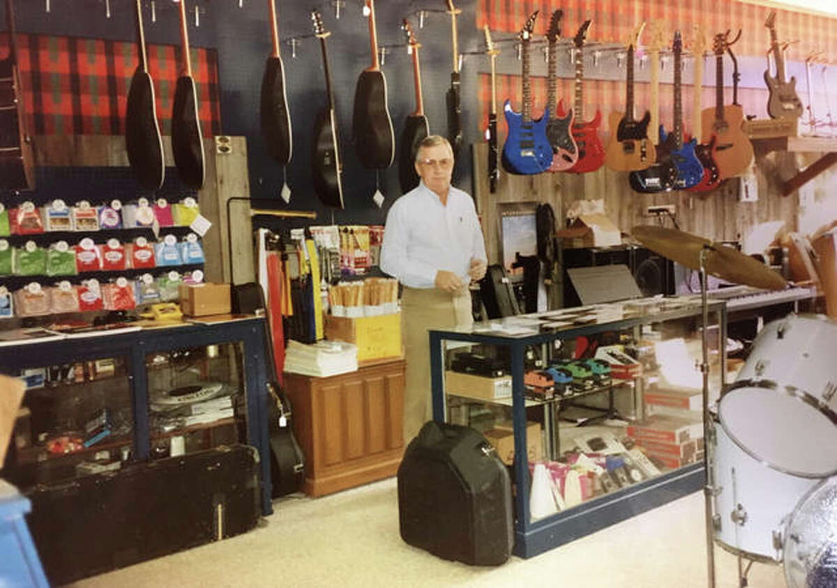 """Robert """"Bob"""" Boyd poses for a photo in his first music store in Rushville. The family later opened stores in Jacksonville and Springfield. The Jacksonville store, the last location, is closing its retail operation July 20 and partnering with Normal-based The Music Shoppe on rentals after that date. Boyd Music will remain open for instrument repairs."""