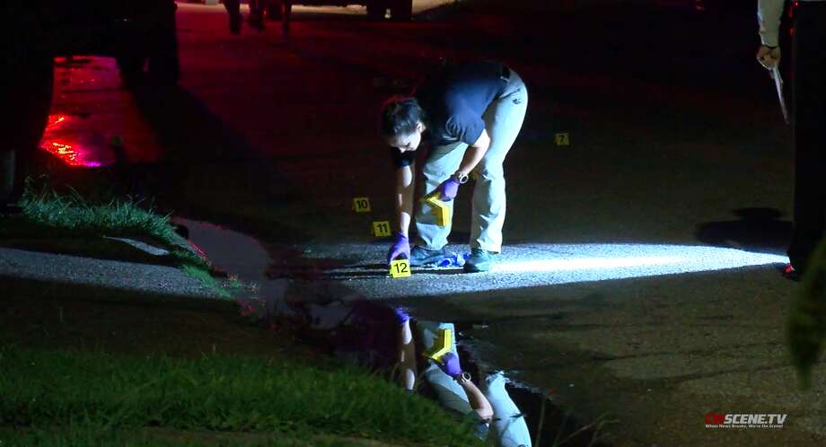 Pasadena police investigate a drive-by shooting early Wednesday, June 3, after a woman was shot in the head at a home in the 1400 block of Cactus Street. Photo: OnScene TV