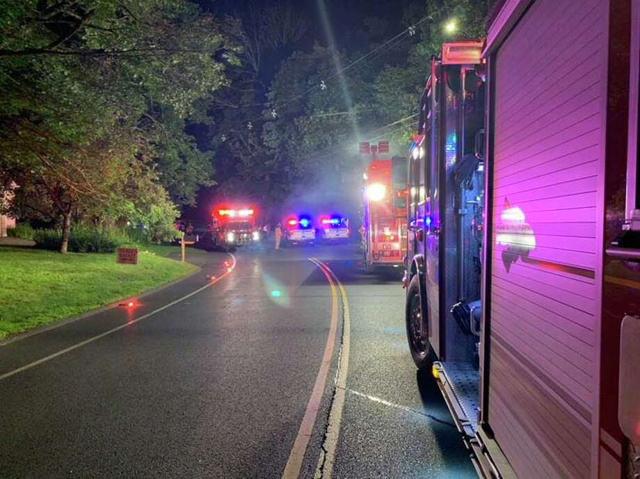 A two-vehicle crash shut down the area of Route 25 and White Pine Drive the night of Tuesday, July 2, 2019. Photo: Contributed Photo / Brookfield Volunteer Fire Company