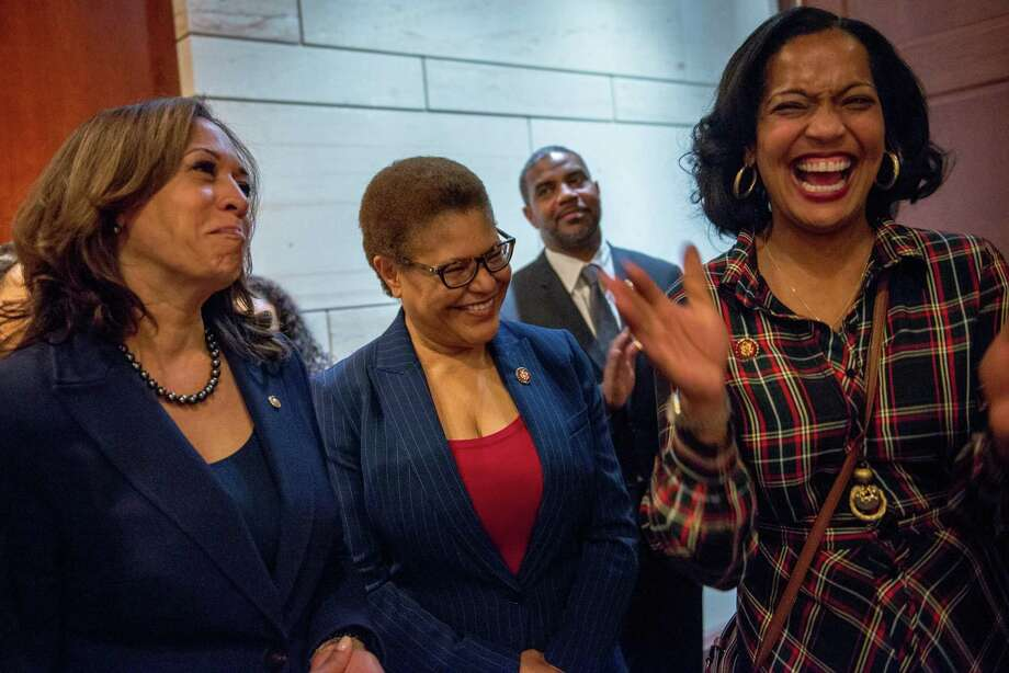 WASHINGTON, D.C. - JANUARY 9, 2019: Chairman of the Congressional Black Caucus, Rep. Karen Bass, D-Calif. (center), laughs with Sen. Kamala Harris, D-Calif. (left) and Rep. Jahana Hayes, D-Conn. (right), during an event at the Capital Visitors Center in Northwest Washington, D.C., welcoming the incoming women members of the Congressional Black Caucus on January 9, 2019. CREDIT: Photo by Andrew Mangum for The San Francisco Chronicle Photo: Andrew Mangum / Andrew Mangum For The San Francisco Chronicle / Andrew Mangum Photography