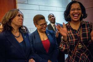 WASHINGTON, D.C. - JANUARY 9, 2019: Chairman of the Congressional Black Caucus, Rep. Karen Bass, D-Calif. (center), laughs with Sen. Kamala Harris, D-Calif. (left) and Rep. Jahana Hayes, D-Conn. (right), during an event at the Capital Visitors Center in Northwest Washington, D.C., welcoming the incoming women members of the Congressional Black Caucus on January 9, 2019. CREDIT: Photo by Andrew Mangum for The San Francisco Chronicle