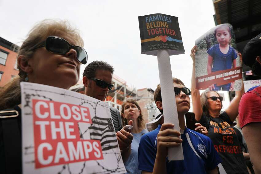 Hundreds of people gather in front of a church in Manhattan's East Village to protest the migrant detention facilities on July 02, 2019 in New York City. Across the country tens of thousands of people are gathering for