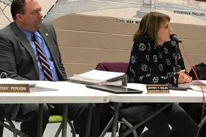 Cheshire Superintendent of Schools Jeff Solan, left, and Board of Education Chairwoman Cathy Hellreich at a board meeting.