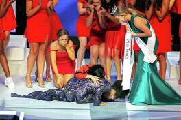 Chandler Foreman of Pearland drops to the floor after learning she is Miss Texas 2019. Now, she prepares to compete at the Miss America pageant, to be broacast Dec. 19 from Hartford, Conn.