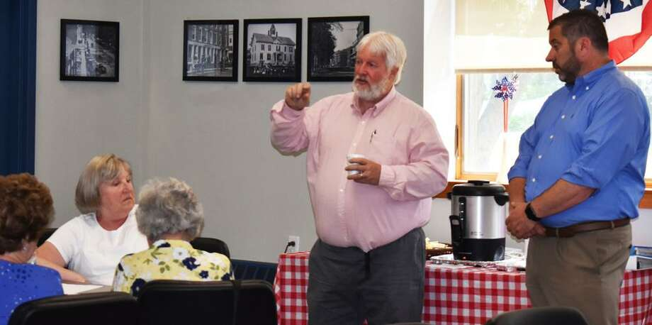 Sen. Craig Miner recently joined Rep. Jay Case for discussion with seniors in Winsted. Photo: Contributed Photo
