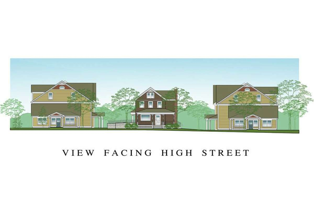 A view from High Street of the proposed project, scaled at 1/8 inch to the foot.