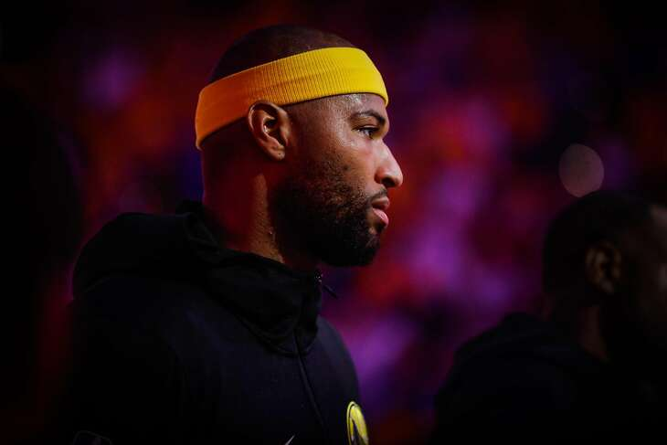 DeMarcus Cousins during the national anthem ahead of Game 6 of the NBA Finals between the Golden State Warriors and the Toronto Raptors in Oakland, California, on Thursday, June 13, 2019. The Toronto Raptors defeated the Golden State Warriors 114-110.