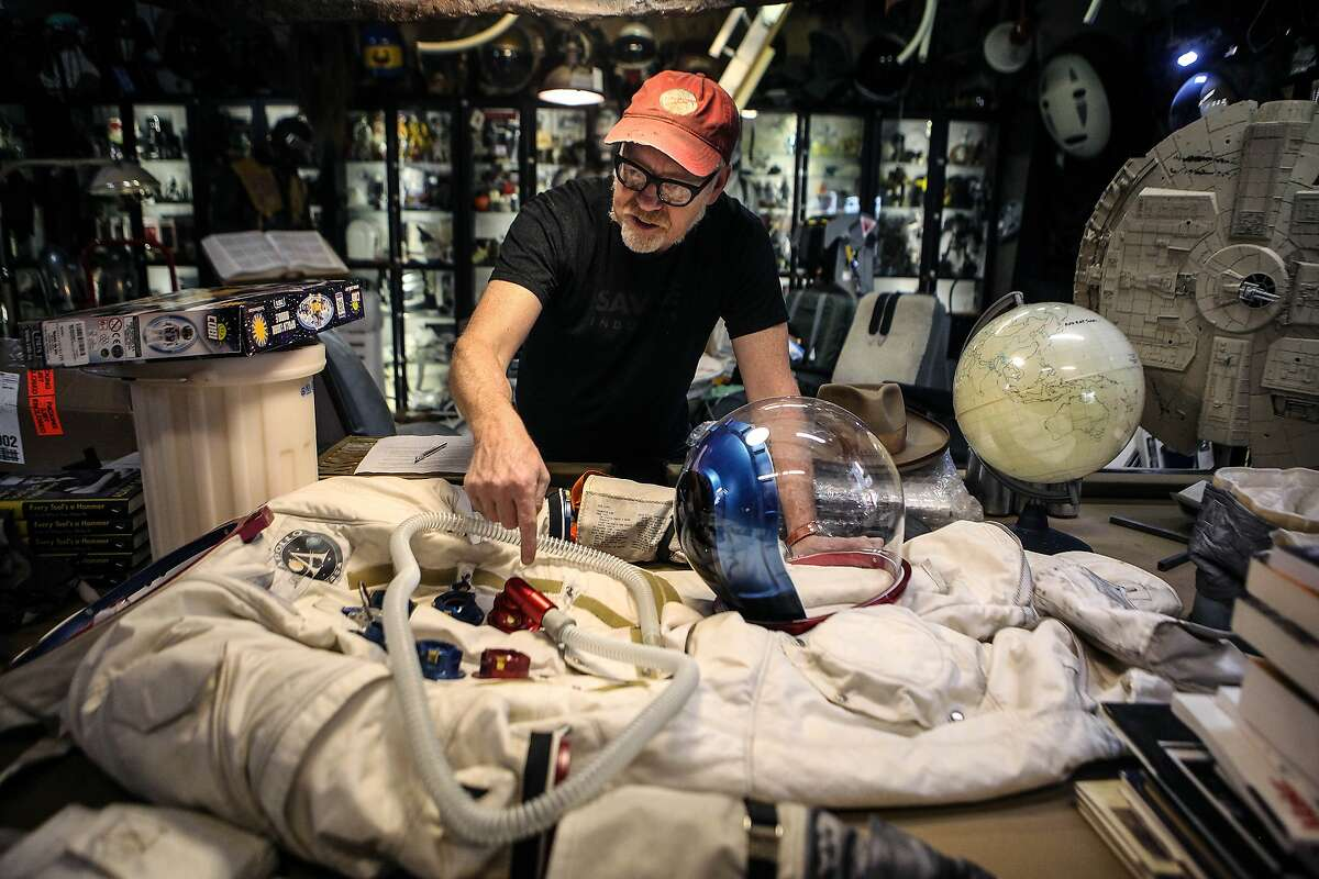 Adam Savage talks about his replica Apollo 11 A7L space suit in San Francisco on July 2, 2019. SiliCon with Adam Savage - formerly known as Silicon Valley Comic Con - will return to San Jose in August, organizers announced this weekend.