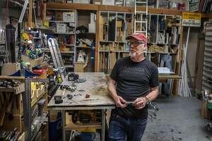 Adam Savage in his workshop in San Francisco on July 2, 2019.