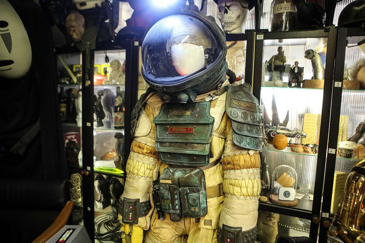 """The """"Alien"""" costume in Savage's warehouse was built over a number of years and involved hiring mold makers, seamstresses and other makers to get it in this shape, according to Savage. """"The spacesuit from 'Alien' for instance, this one took 14 years to assemble and put together all the parts, and I didn't finish it until I actually decided I was going to wear it at 2014 Comic-Con,"""" Savage said. """"So to me, the obsessive part was I wanted the experience of putting this suit on and feeling the heaviness in the weight of it."""" Savage confirmed the suit is weighty, and noted, """"I got heatstroke in this."""""""