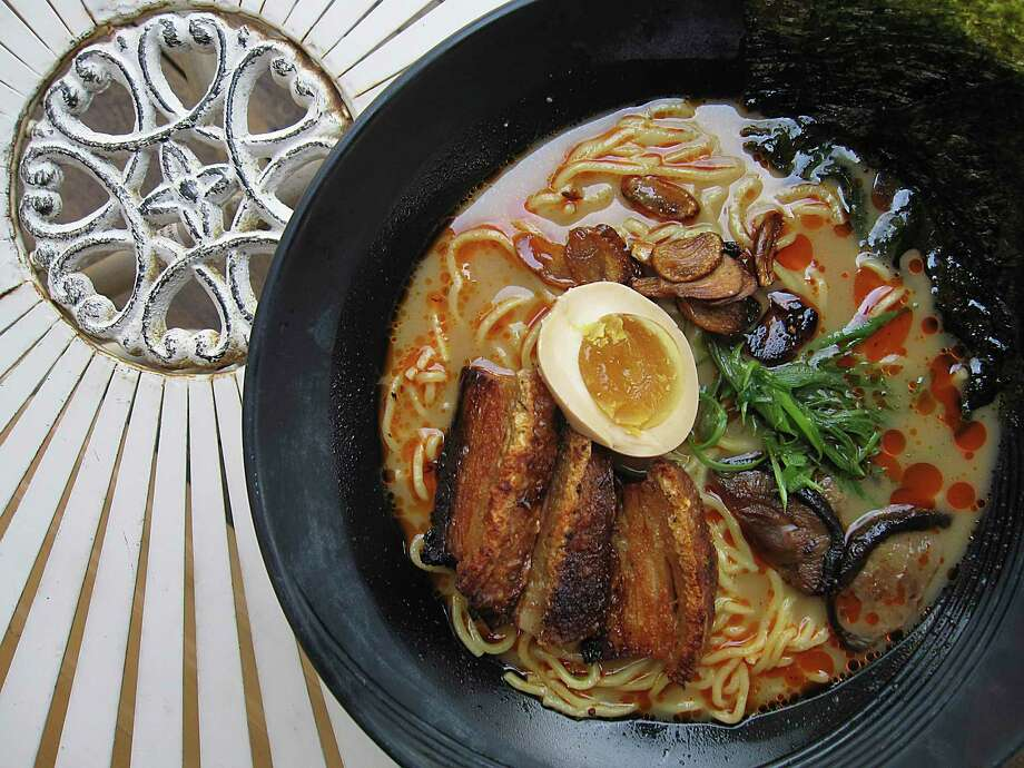 Tonkotsu ramen with pork belly is one of several ramen noodle options at Kuriya @ Cherrity Bar. Photo: Mike Sutter /Staff