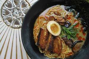 Tonkotsu ramen with pork belly is one of several ramen noodle options at Kuriya @ Cherrity Bar.