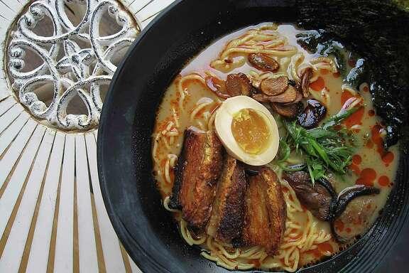 Tonkotsu ramen with pork belly is one of several ramen noodle options at Kuriya @ Cherrity Bar.