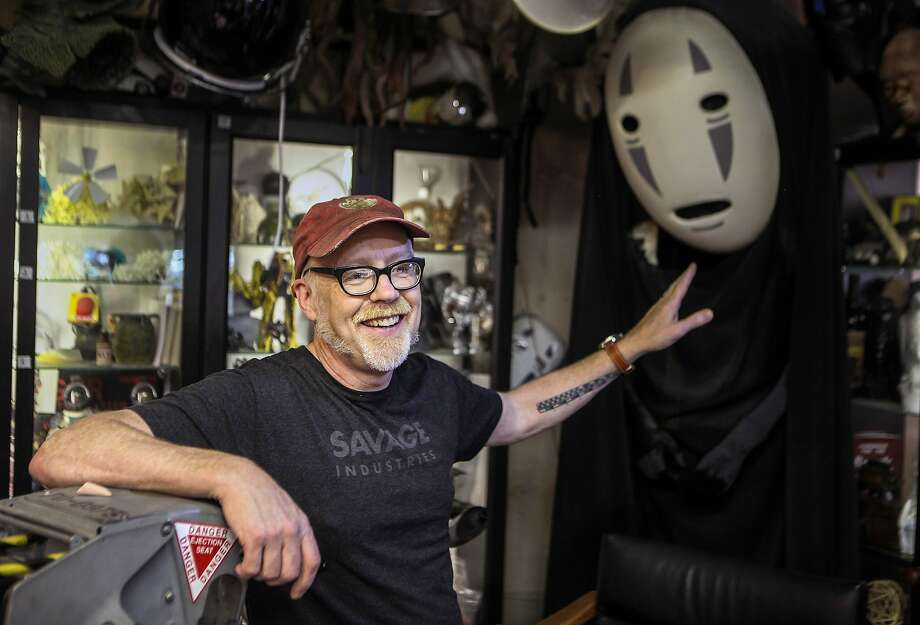 """FILE — Adam Savage talks about the No-Face costume he wore at Comic-Con in 2012 in his workshop in San Francisco on July 2, 2019. Savage announced on Twitter that his car was broken into and that a treasured prop from an episode of """"MythBusters"""" was stolen. Photo: Chris Preovolos, Hearst Newspapers"""