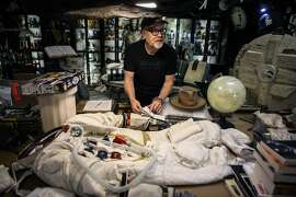 Adam Savage talks about his replica Apollo 11 A7L space suit in San Francisco on July 2, 2019.