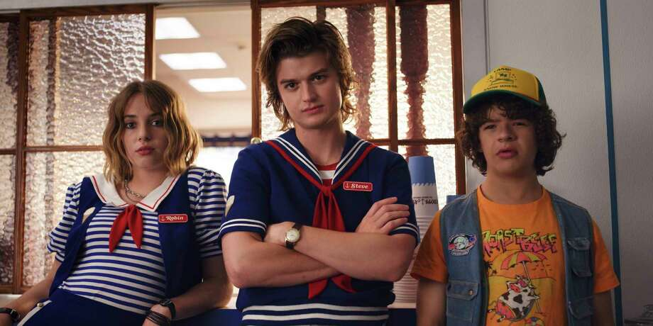"From left, Robin (Maya Hawke), Steve (Joe Keery) and Dustin (Gaten Matarazzo) are standouts in Season 3 of ""Stranger Things."" Photo: Netflix / Netflix"