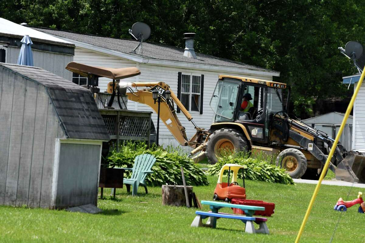 Repair work to the water and sewer system is taking place in the Kayadeross Acres mobile home park on Wednesday, July 3, 2019, in Ballston Spa, N.Y. The facility got $4 million to make improvements in 2016. (Will Waldron/Times Union)