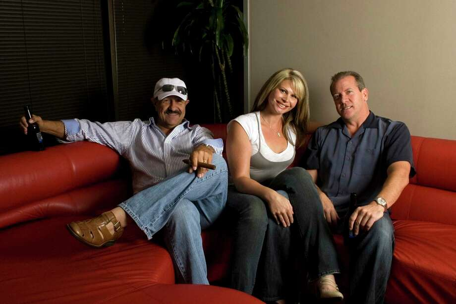 (Left to Right) Portrait of John Walton, Sarah, and Steve Johnson from the Walton and Johnson show on 93.7FM the Arrow at the Clear Channel offices in the Galleria Thursday, July 2, 2009, in Houston. ( Johnny Hanson / Chronicle ) Photo: Johnny Hanson, Staff / Houston Chronicle / Houston Chronicle