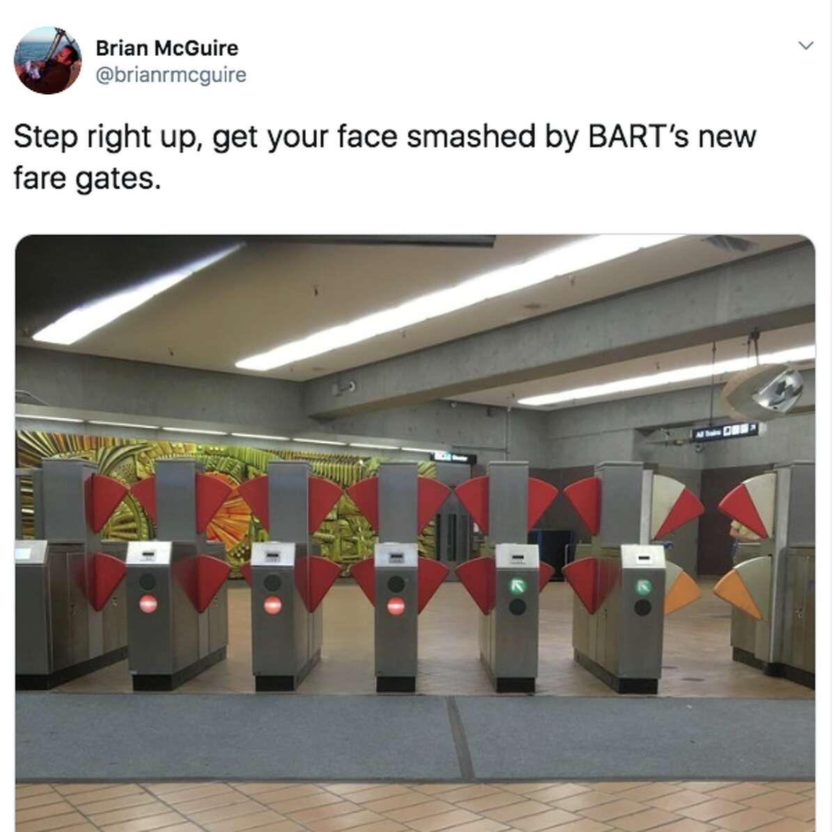 Social media users have been both shocked and amused by the new fare gate design BART is testing out at the Richmond station.