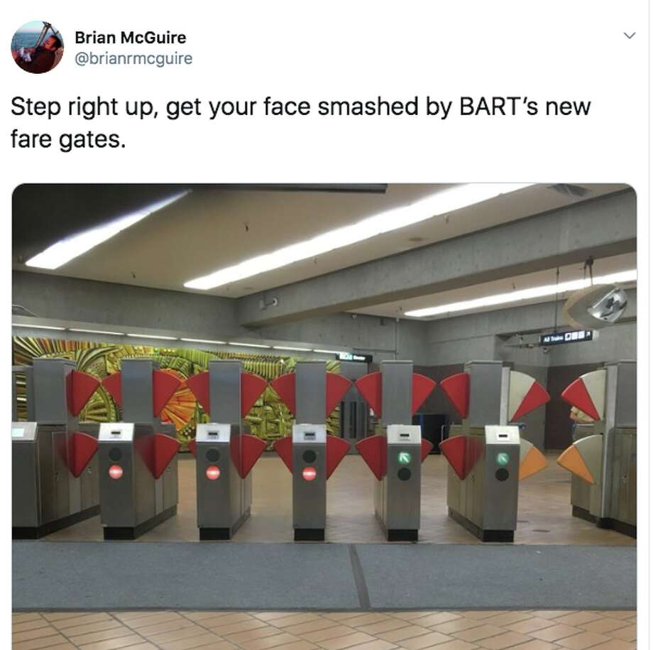 Social media users have been both shocked and amused by the new fare gate design BART is testing out at the Richmond station. Photo: Screenshot Via Twitter