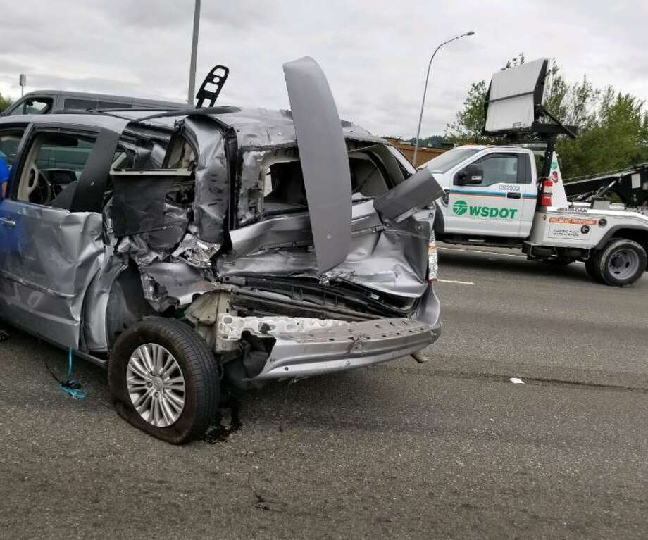 A crash and police activity in Fife caused southbound lanes to close on Interstate 5 on Wednesday. Photo: Courtesy WSDOT